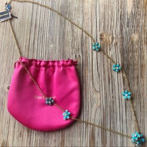 JUICY COUTURE Flower Strand Necklace Turquoise NWT